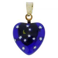Millefiori Heart Pendant - Gold Starry Night