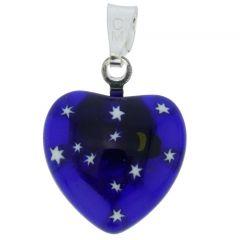 Millefiori Heart Pendant - Silver Starry Night
