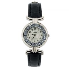 Murano millefiori watch with leather band - black
