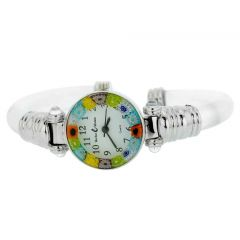 Murano Millefiori Bangle Watch - Silver Clear Multicolor
