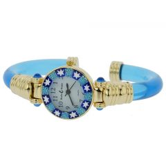 Murano Millefiori Bangle Watch - Blue