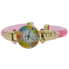 Murano Millefiori Bangle Watch - Pink Gold Multicolor