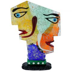 Murano Glass Picasso Head With Two Faces