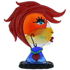 Murano Glass Picasso Head Of A Woman With Red Hair