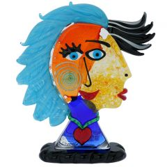 Murano Glass Picasso Head Of A Woman With Blue Hair