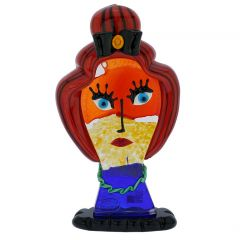 Murano Glass Picasso Head Of A Woman With Red Hair In A Bun