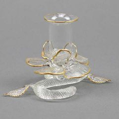 Cristallo and Gold Flower Murano Glass Candle Holder