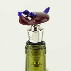 Murano Glass Dog bottle stopper - red