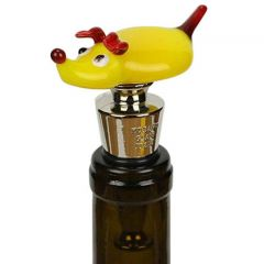Murano Glass Dog Bottle Stopper - Yellow