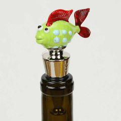 Murano Glass Fish Bottle Stopper - Green