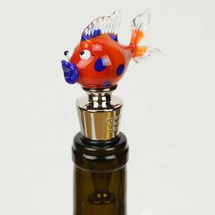Murano Glass Fish bottle stopper - orange