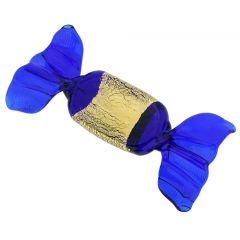 Murano Glass Rectangular Candy - Blue Gold