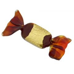 Murano Glass Rectangular Candy - Burgundy Gold