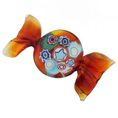 Murano Glass Rectangular Candy - Red Gold