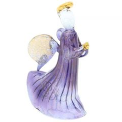 Murano Glass Angel Christmas Ornament - Blue