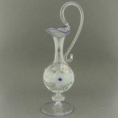Cristallo and Blue Murano Glass Carafe Decanter