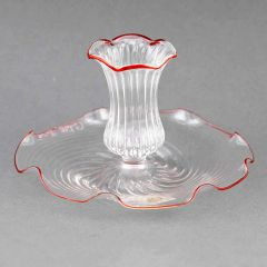 Cristallo Red Flower Murano Glass Candle Holder