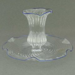 Cristallo Blue Flower Murano Glass Candle Holder