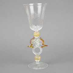 Murano Glass Wine And Champagne Glass - Golden Brown