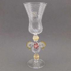 Murano Glass Wine And Champagne Glass - Golden Brown Red