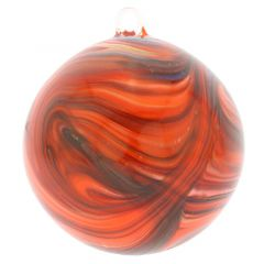 Murano Glass Chalcedony Christmas Ornament - Red Swirl