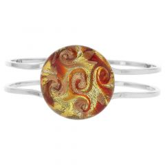 Venetian Reflections Metal Bracelet - Red Orange Swirl