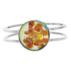 Venetian Reflections Metal Bracelet - Silver Orange Swirl