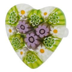 Arlecchino Murano Millefiori Heart Ring - Light Blue