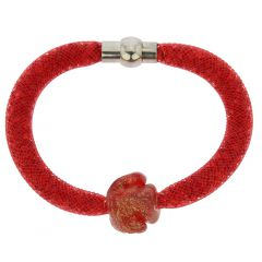 Murano Rose Flower Bracelet - Red
