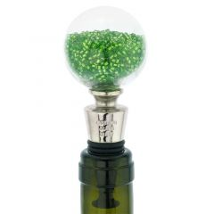 Murano Glass Sparkly Beads Bottle Stopper - Green