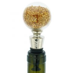 Murano Glass Sparkly Beads Bottle Stopper - Gold