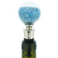 Murano Glass Sparkly Beads Bottle Stopper - Aqua