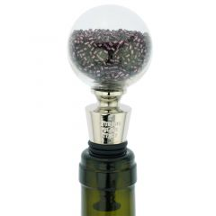 Murano Glass Sparkly Beads Bottle Stopper - Purple