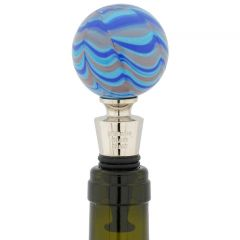 Murano Glass Bottle Stopper - Festooned Emerald Green