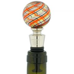 Murano Glass Bottle Stopper - Red and Green Filigrana