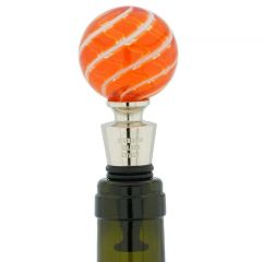 Murano Glass Bottle Stopper - Orange