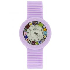 Murano Millefiori Watch with Rubber Band - Lavender