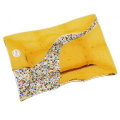 Murano Klimt Rectangular Decorative Plate - Golden Brown