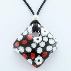 Arlecchino Murano Millefiori Pendant - Red and Black