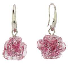 Murano Rose Flower Earrings - Pink