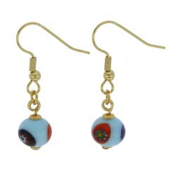 Murano Mosaic Aqua Blue Ball Earrings