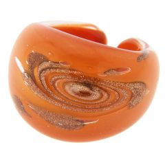 Murano Swirls Ring In Domed Design - Orange