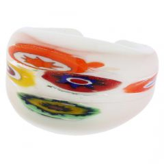 Murano Millefiori Ring In Domed Design - Milky White