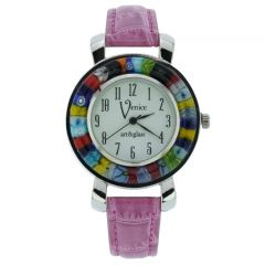 Serena Murano Millefiori Watch With Leather Band - Purple