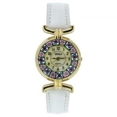 Murano Millefiori Watch With Leather Band - White