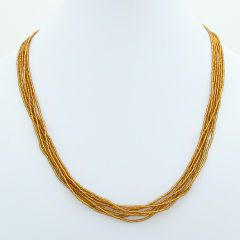 Six Strand Seed Bead Necklace - Golden Brown
