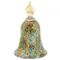 Golden Quilt Multicolor Green Millefiori Bell