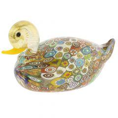 Golden Quilt Millefiori Murano Duck- Medium