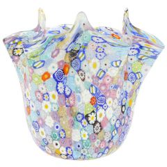 Murano Glass Millefiori Fazzoletto Bowl - Transparent Multicolor