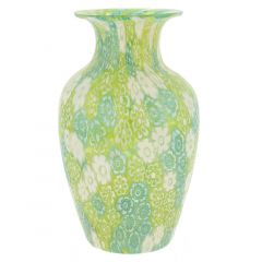 Golden Quilt Millefiori Urn Vase - Green